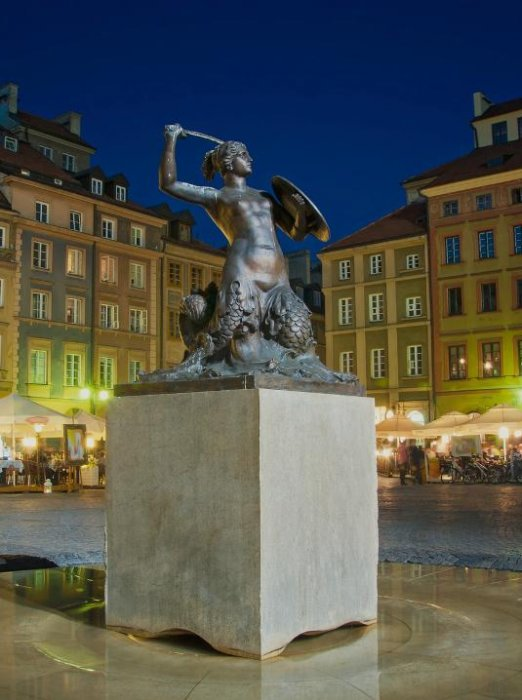 Mermaid statue in the Old Town of Warsaw